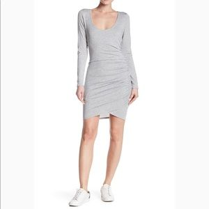 NEW Free Press Long Sleeves Ruched Dress Gray Med